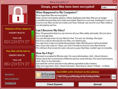 Methode des WannaCry-Ransomware-Angriffs vom Mai 2017: Unternehmsdaten verschlüsseln und Lösegeld fordern.